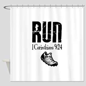 run fixed Shower Curtain